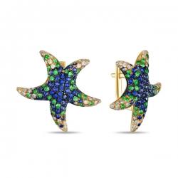 Серьги Морские звезды из желтого золота c бриллиантами, гранатами и сапфирами