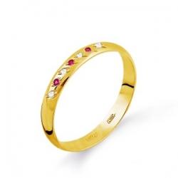 Обручальное кольцо из желтого золота с рубином и бриллиантом