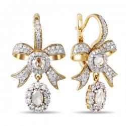 Серьги в виде бантов из белого золота c бриллиантами и сапфирами