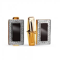 Золотые запонки с бриллиантами, эмалью