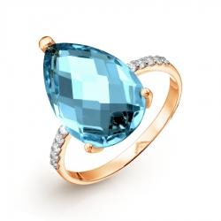 Золотое кольцо с топазом ситалл и фианитами