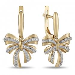 Золотые серьги в виде бантиком c бриллиантами
