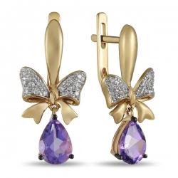 Золотые серьги Бантики c аметистами и бриллиантами