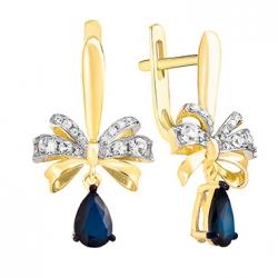 Золотые серьги Бантики c бриллиантами и сапфирами