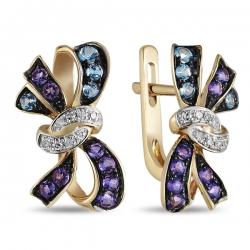 Золотые серьги Бантики c аметистами, топазами и бриллиантами
