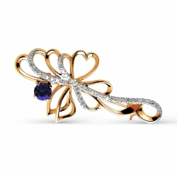 Золотая брошка Бантики  с сапфиром и бриллиантом