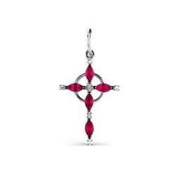 Крестик из белого золота с рубином и бриллиантом