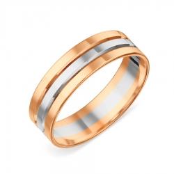 Кольцо обручальное из разных цветов золота