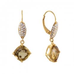 Серьги из золота 585 пробы с бриллиантами и цитринами