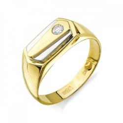 Печатка из желтого золота с бриллиантом