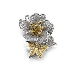 Подвеска Цветок из белого золота с сапфирами, бриллиантами