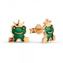 Детские золотые пусеты Лягушка с эмалью