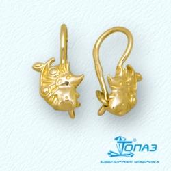 Детские серьги Ежики из желтого золота