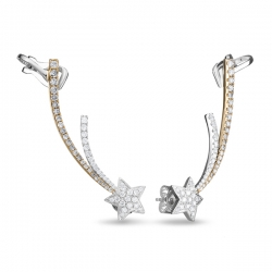 Золотые серьги Звезды c бриллиантами