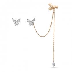 Золотые серьги «Бабочки» c бриллиантами
