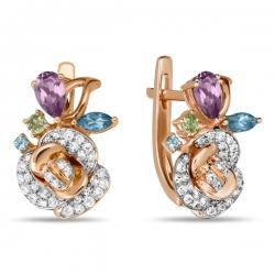 Золотые серьги c аметистами, топазами, бриллиантами и перидотами