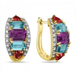 Золотые серьги c аметистами, топазами, бриллиантами и родолитами