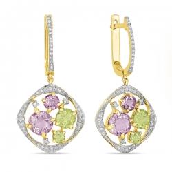 Золотые серьги c аметистами, бриллиантами и перидотами