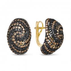 Серьги из желтого золота c черными бриллиантами