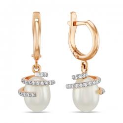 Золотые серьги c белым жемчугом и фианитами