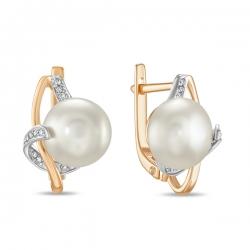 Золотые серьги c бриллиантами и белым жемчугом