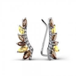 Серьги из белого золота с раухтопазами, цитринами, фианитами