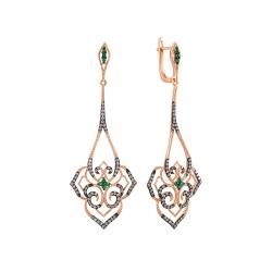 Серьги из розового золота 585 пробы с бриллиантами и изумрудами
