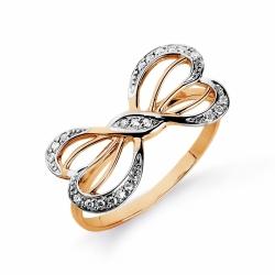 Золотое кольцо Бант с фианитами