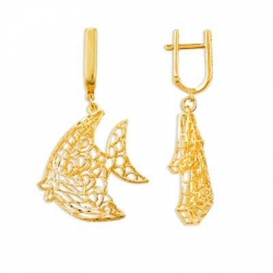 Серьги Рыбки из желтого золота