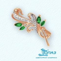 Золотая брошь Растения с изумрудом, бриллиантами