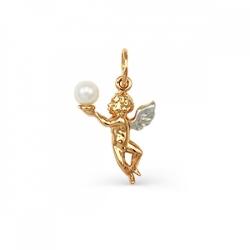 Золотая подвеска Ангел с белым жемчугом