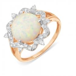 Золотое кольцо Цветок с опалом, фианитами