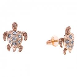 Золотые серьги гвоздики «Черепаха» c бриллиантами