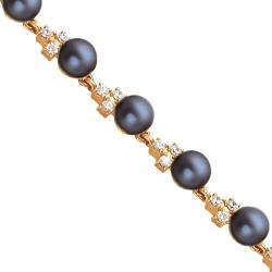 Золотой браслет с черным жемчугом и фианитами