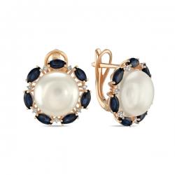 Золотые серьги Цветы c бриллиантами, белым жемчугом и сапфирами