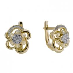 Золотые серьги Цветы c бриллиантами