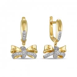 Золотые серьги Бантики c бриллиантами