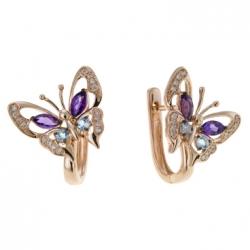 Золотые серьги c аметистами, топазами и бриллиантами Весенние бабочки