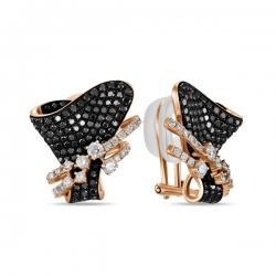 Золотые серьги Флора c черными бриллиантами