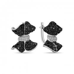 Серьги Бантики из белого золота c черными бриллиантами
