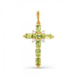 Крестик из желтого золота с хризолитом и фианитами