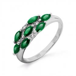 Женское кольцо из белого золота с изумрудом и бриллиантом