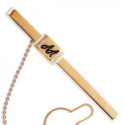 Золотой зажим для галстука с эмалью, фианитами