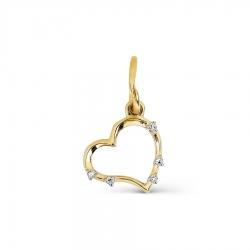 Подвеска Сердце из желтого золота с бриллиантами