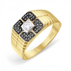 Мужское кольцо из желтого золота с Swarovski Zirconia и черными бриллиантами
