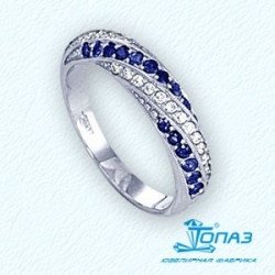 Кольцо из белого золота с сапфирами, бриллиантами