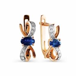 Золотые серьги с сапфиром и бриллиантом