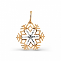 Золотая подвеска Снежинка