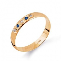 Золотое кольцо обручальное с сапфирами, бриллиантами