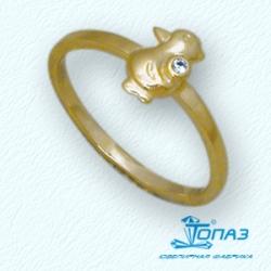 Детское кольцо Птенец из желтого золота с фианитом